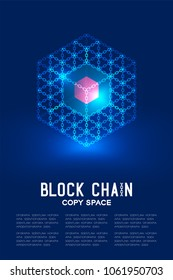Blockchain technology 3D isometric virtual, system online concept design illustration isolated on dark blue background and Blockchain Text with copy space, vector eps 10