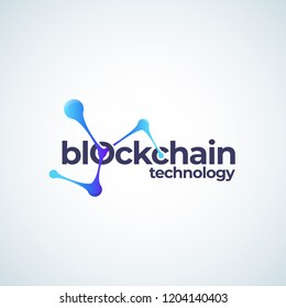 Blockchain Technology Absrtract Vector Sign, Symbol or Logo Template. Conected Spheres Chain Gradient Icon with Modern Typography. Isolated.