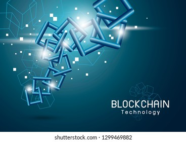 Blockchain technology background vector illustration