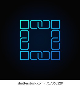 Blockchain technology blue icon. Vector block chain concept linear symbol or logo element on dark background