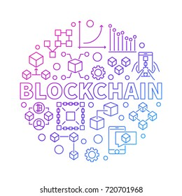 Blockchain technology colorful line round vector illustration on white background