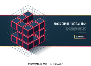 Blockchain technology concept. Isometric vector illustration of distributed database for cryptography. Cubic nodes and connecting lines.Conceptual vector vertical banner