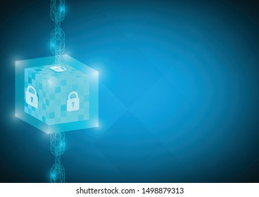 Blockchain technology concept vector. Chain link connection blue illustration. Use for banner, leaflet, wallpaper, website, template, poster and other design.