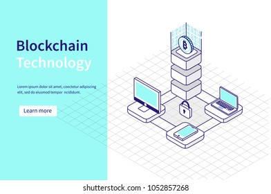 Blockchain technology and cryptocurrency concept. Can use for web banner, infographics, hero images.  Line style Isometric vector illustration.