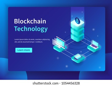 Blockchain technology and cryptocurrency concept. Can use for web banner, infographics, hero images.  Isometric vector illustration with trendy gradient.