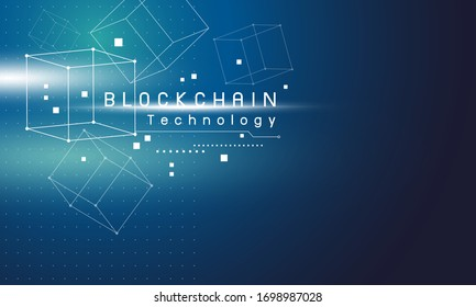 Blockchain technology design on blue background vector illustration