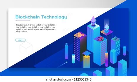 Blockchain technology finance with city scene at night .