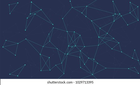 Blockchain technology futuristic abstract vector background with blockchain peer to peer network. Global cryptocurrency blockchain business banner concept.