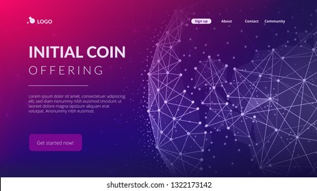 Blockchain technology futuristic landing page hero image with world globe and blockchain polygon peer to peer network. Global cryptocurrency fintech business banner concept. Low poly vector design.