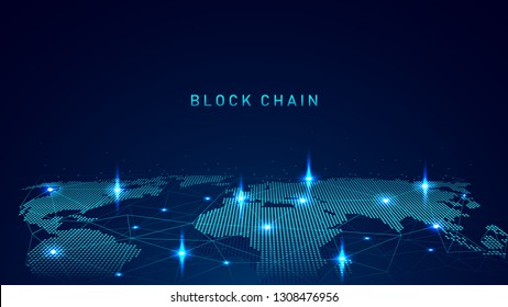 Blockchain technology with global connection concept  suitable for financial investment or crypto currency trends business idea and all art work design - Vector