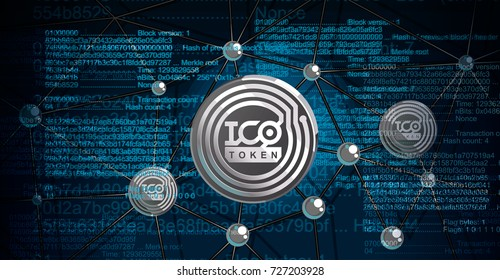 Blockchain technology, ICO token vector illustration. Initial coin offering. IT startup crowdfunding. Great for social media, blog, flyer, presentation.