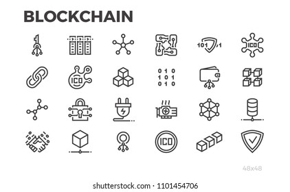 Blockchain technology icons. Cryptography, crypto currency, block chain and other symbols. Editable line.