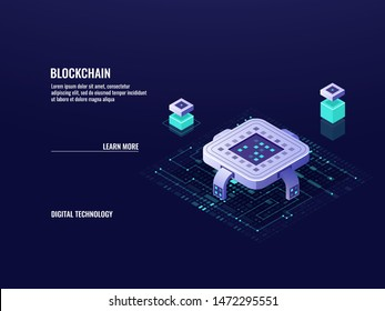 blockchain technology isometric concept, microchip, database and datacenter, cloud computing and data storage, server room, dark neon vector