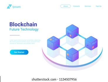 Blockchain Technology Isometric flat vector illustration concept. Hi tech Block chain data structure visualization.