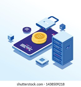 Blockchain technology Libra crypto currency coin symbol. Illustration gold Libra coin on system security -Vector