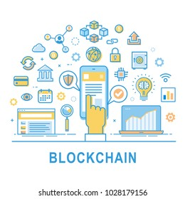 "Blockchain technology line vector illustration on white background with text ""Blockchain"". Security cryptocurrency design with hand and smartphone. Vector block chain modern icon, logo, symbol set."