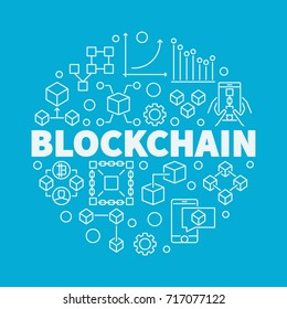Blockchain technology linear circular vector illustration on blue background