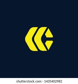 Blockchain technology logo icon template. CC C cryptocurrency and bitcoin logotype illustration. Clean creative minimal monochrome crypto symbol