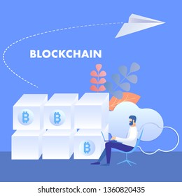 Blockchain Technology, Mining Farm Illustration. Cryptocurrency Miner Cartoon Character. Man Monitoring Bitcoin Capitalization. Mining with Server Processing Power. E business Banner with Typography