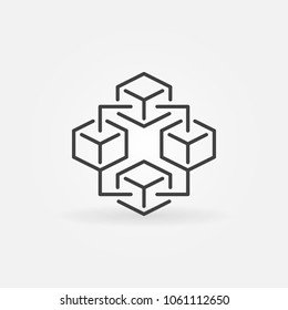 Blockchain technology modern icon - vector block chain sign or logo element in thin line style