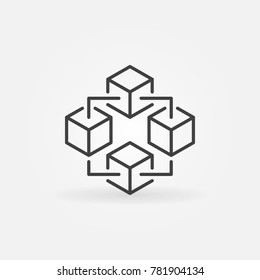 Blockchain technology modern icon. Vector block chain symbol or logo element in thin line style