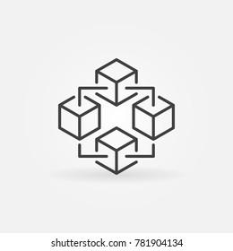 Blockchain technology modern icon. Vector block chain symbol or logo element in thin line style
