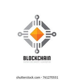 Blockchain technology - vector logo template concept illustration. Abstract geometric business sign. Digital crypto currency creative icon. Graphic design element.