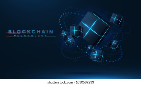 Blockchain technology visualization. 3d vector cubes , blocks with neon parts compose futuristic technology illustration. Moving meridian consist of glowing particles. decentralization concept .