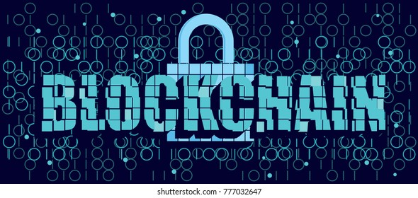 Blockchain text with 3d mosaic effect, lock and code on dark background, decentralized technology for secure data transfer, protect privacy and information, safety banking concept illustration