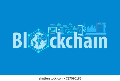 Blockchain text and network concept finance with connected globe, Vector illustration