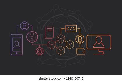 Blockchain transaction concept. Minimalistic style