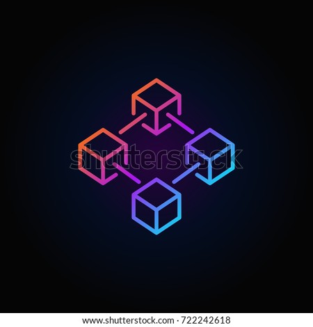 Blockchain vector colorful line icon or logo element on dark background