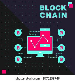 Blockchain vector concept illustration.