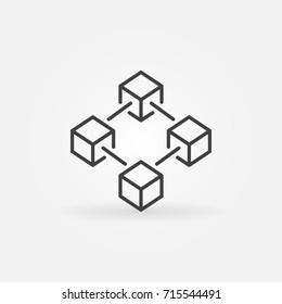 Blockchain vector icon or design element in outline style