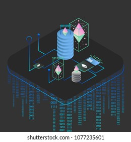 Blockchain vector illustration . Bitcoin & Ethereum cryptocurrency trading concept.
