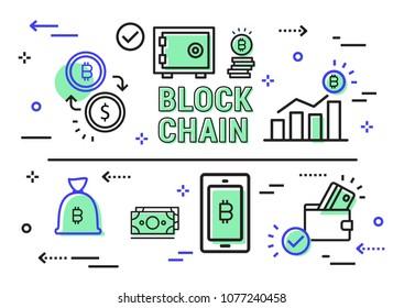 Blockchain vector illustration. Bitcoin & Ethereum trading concept