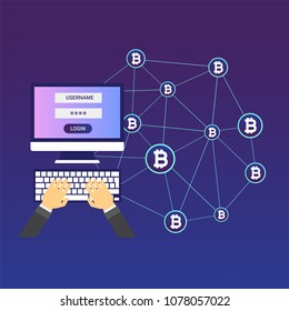 Blockchain vector illustration. Bitcoin and Ethereum trading concept.