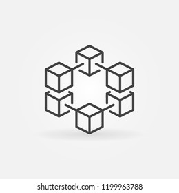 Blockchain vector line concept icon or logo element