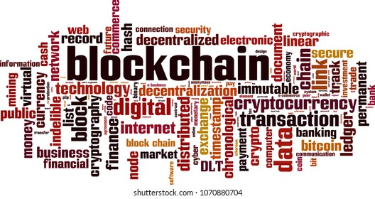 Blockchain word cloud concept. Vector illustration