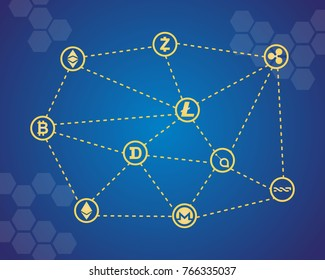 Blockchain word with icons vector illustration