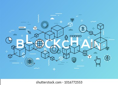Blockchain word surrounded by cubes or blocks arranged into chain, bitcoin symbols. Distributed digital transaction record. Infographic banner with elements in thin line style. Vector illustration.