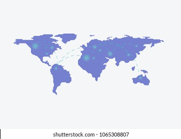 Blockchain worldwide with map on the background. Bitcoin trading concept. in flat style