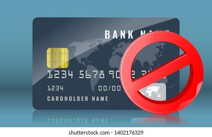 Blocked credit or bank card concept illustration. Vector illustration.