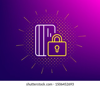 Blocked credit card line icon. Halftone pattern. Bank money sign. Gradient background. Blocked card line icon. Yellow halftone pattern. Vector