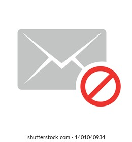 Blocked mail icon vector, filled flat sign, solid pictogram isolated on white. Delete email symbol, logo illustration