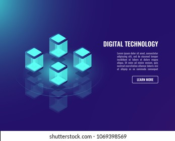 Blockhacin technology concept, isometric vector data exchange, cloud information storage, server room, datacenter and database security neon dark ultraviolet