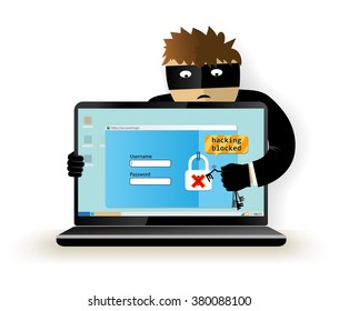 Blocking a hacker attack.Hacker breaks into computer. Cyber attacker trying to hack computer. Vector illustration. Isolated on white background.