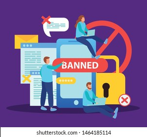 Blocking social media internet users for content flat composition with smartphone lock banned messages bubbles vector illustration