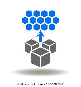 Blocks hexagon arrow up icon vector. Microservice Architecture Logistics Supply Chain Logo.