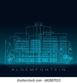 Bloemfontein skyline, detailed silhouette. Modern vector illustration, blue linear style.